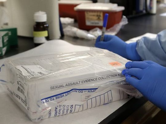A sexual assault evidence kit is logged in the biology lab at the Houston Forensic Science Center in Houston in April 2015.