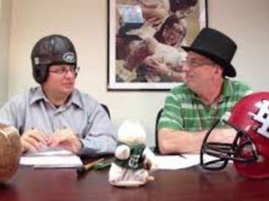 "Harry Frezza (right) and Jerry Carino during their ""shtick picks"" webcast."