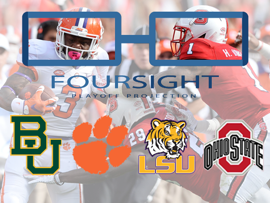 There were no major changes in the FourSight College Football Playoff projection this week.