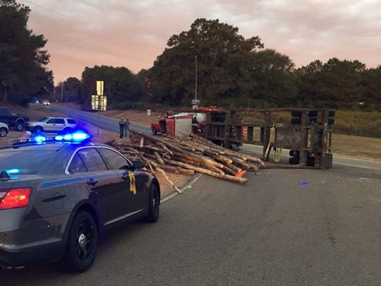 An 18-wheeler overturned at MS 28 near MS 43 in Simpson County on Oct. 23. The driver told authorities he was avoiding a deer.