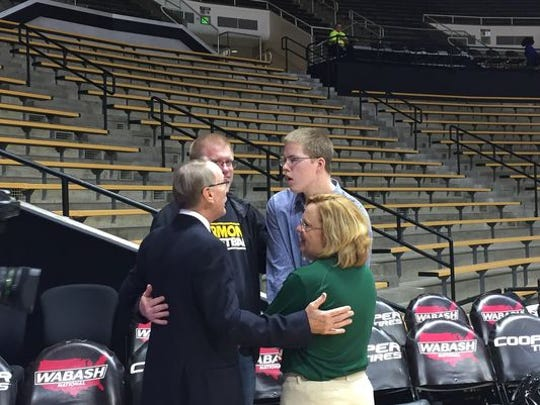 Josh Speidel and his family before the Vermont-Purdue game.