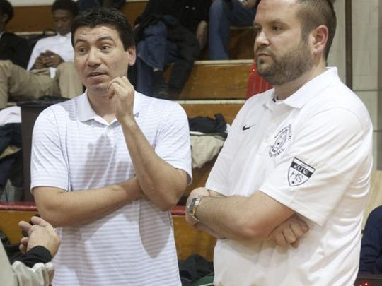 Matawan High School basketball coach John Giraldo (left) has marveled at Darrell Rogers' progress.