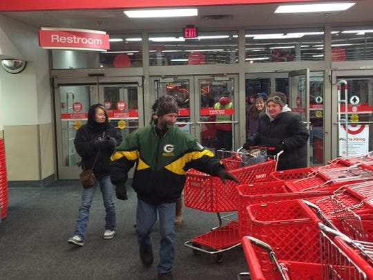 Customers make their way into Target in Stevens Point after the doors opened on Thanksgiving night in 2014.
