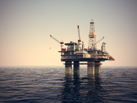 An example of an offshore oil drilling platform.