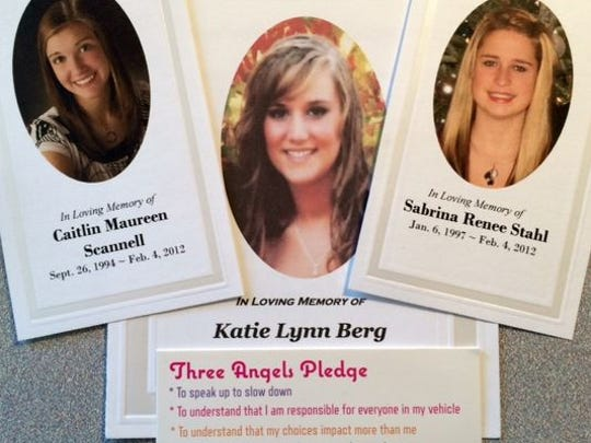 Caitlin Scannell, Katie Berg and Sabrina Stahl of Campbellshport died in a crash on Feb. 4, 2012, that also injured six others who were in the SUV. On April 28, survivors and family members of those who died talked about the tragedy at Fond du Lac High School.