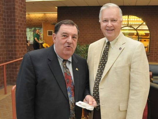 Delegate Norm Conway, left, is shown with T. Jan Wiseman,