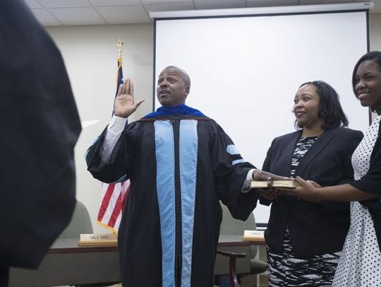 Andre Harrison sworn in as the superintendent of the