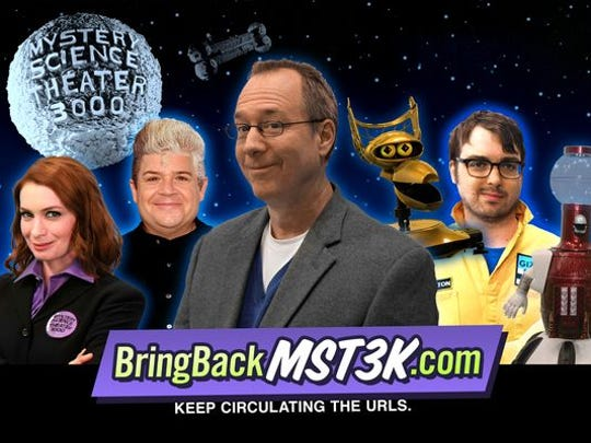 "Felicia Day (left to right), Patton Oswalt, Joel Hodgson and Jonah Ray are all on board for the return of ""Mystery Science Theater 3000."""