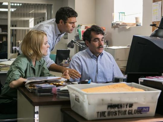 Rachel McAdams, Mark Ruffalo and Brian d'Arcy James co-star as investigative reporters in 'Spotlight.'