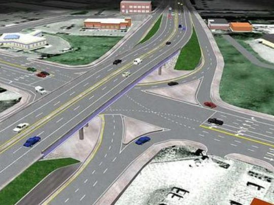 This Bridge Over Broad rendering shows a bird's eye view of what the intersection of Broad Street at Old Fort Parkway and Memorial Boulevard will look like when the work is completed on this overpass project.