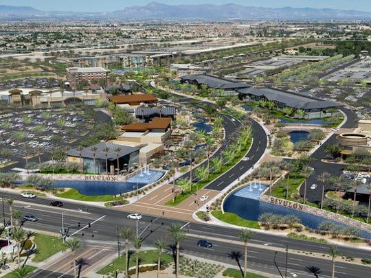 A conceptual rendering of huge Gilbert mixed-used development Rivulon.