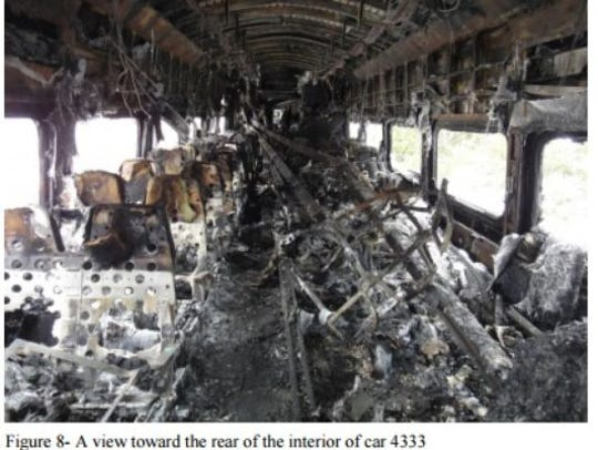 A photo of the charred interior of the Metro-North