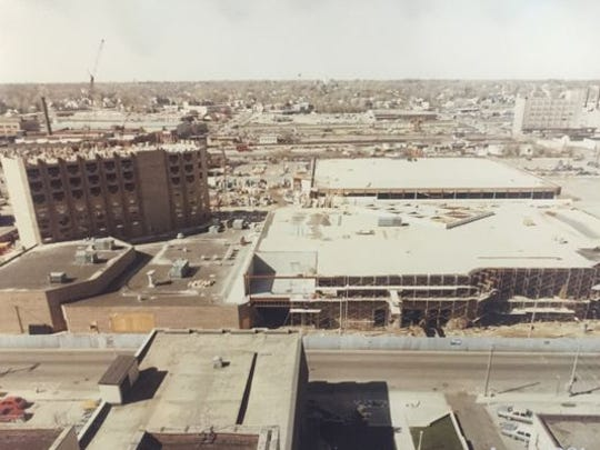 Construction of McCamly Plaza Hotel in August 1981, about three months before the facility officially opened.