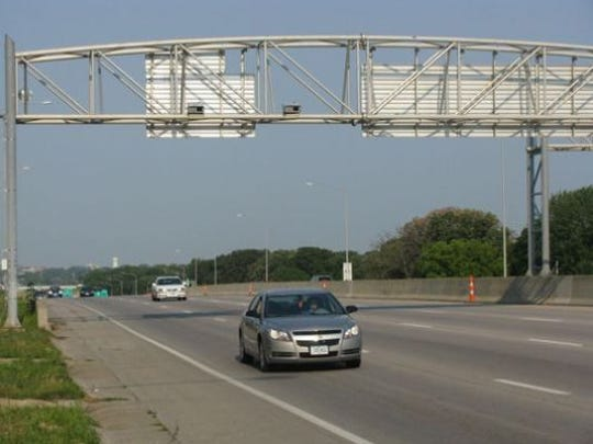 A traffic enforcement speed camera along Interstate Highway 235 in Des Moines.