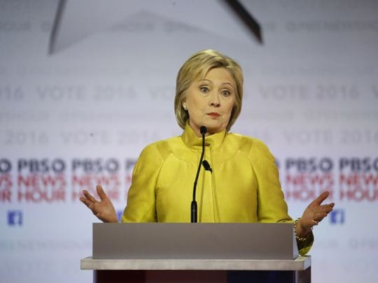 Presidential candidate Hillary Clinton speaks during a debate Thursday.
