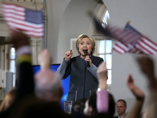 Democratic presidential candidate Hillary Clinton speaks at the Old South Meeting Hall on February 29, 2016 in Boston. Clinton is campaigning in Massachusetts and Virginia ahead of Super Tuesday.