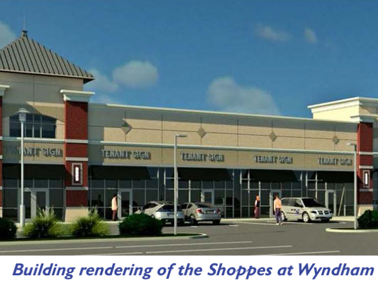 An artist's rendering shows the Shoppes at Wyndham, a retail center planned at the corner of South Richland Avenue and Country Club Road in Spring Garden Township.