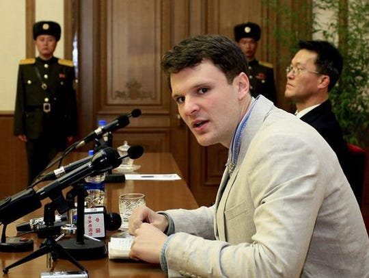 Otto Warmbier  during a press conference on Monday,