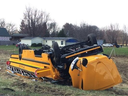 Jonathan Miano/The Times/AP A school bus carrying Griffith High boys basketball team is seen overturned in Demotte, Ind., on Saturday. The bus rolled over on Interstate 65 on the way to Saturday?s semifinal. A school bus carrying Griffith High boys basketball team is seen overturned in Demotte, Ind., Saturday, March 19, 2016. The bus rolled over on Interstate 65 on the way to Saturday's semifinal game against Marion at Lafayette Jefferson.