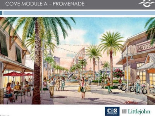 A rendering of what the new Cove could look like. That's me in the middle with all the shopping bags.