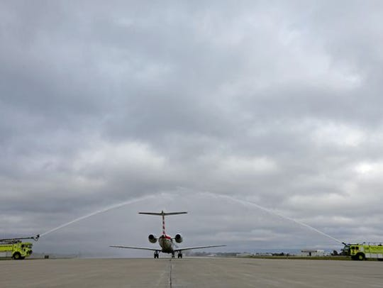 A water cannon salute marked the start of service from