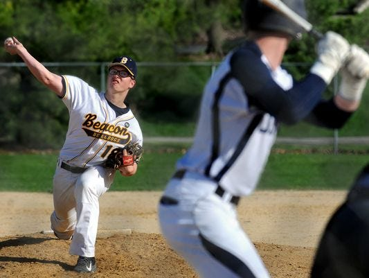 Beacon High School's Alex Callaway fires a pitch against Our Lady of Lourdes in Poughkeepsie.
