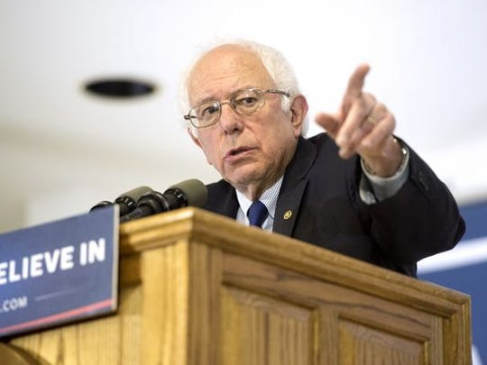 Democratic presidential candidate Sen. Bernie Sanders speaks, Monday, at the United Automobile Workers building in Janesville, Wis.