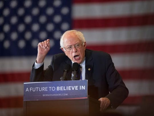 Bernie Sanders speaks at a campaign rally at the Wisconsin