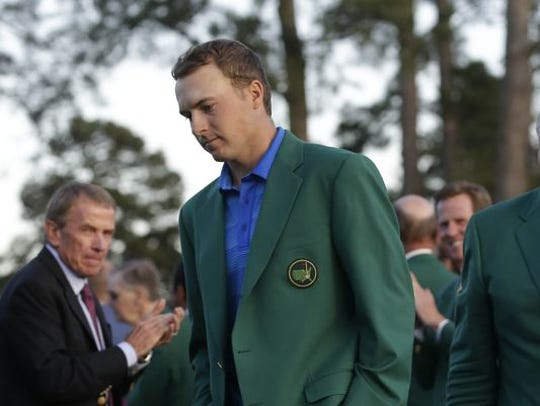 Jordan Spieth arrives for the green jacket ceremony