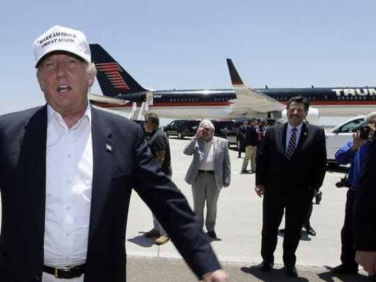 Republican presidential candidate Donald Trump visited the U.S.-Mexico border in Laredo in July 2015.ublican presidential hopeful Donald Trump speaks after arriving at the airport for a visit to the U.S.-Mexico border in Laredo, Texas, on July 23.