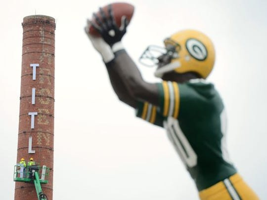The Donald Driver statue outside Titletown Brewing Co. in Green Bay.