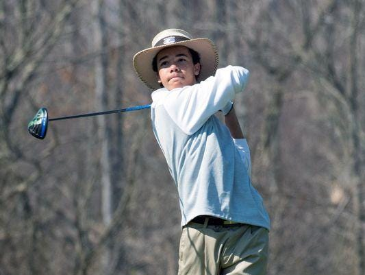 """Andrew Walker of Battle Creek Lakeview watches a tee shot at Cedar Creek. The two-time Michigan Mr. Golf winner is the defending Division 1 individual state champion and will attend MSU. """"Andrew's a winner, there's just no other way to describe him,"""" MSU coach Casey Lubahn said."""