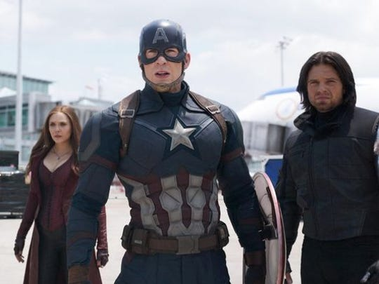 Chris Evans (center) stars in 'Captain America: Civil War.'