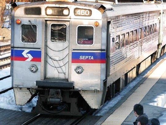 A SEPTA commuter rail train sits at the Newark station