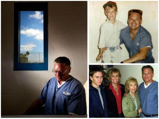 Michael Edwards in prison a few years ago and earlier with his son, mother and sister.