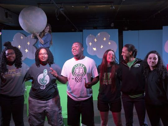 "Lafayette High students, from left, Dhaija Smith, Armani Bailey, Cullen Zeno, Jade Hawkins, Maci Roberts and Erin Jacobs rehearse for their production ""You're a Good Man, Charlie Brown"" in February."