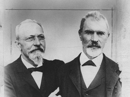 John J. Bausch, left, and Henry Lomb, co-founders of Bausch & Lomb.