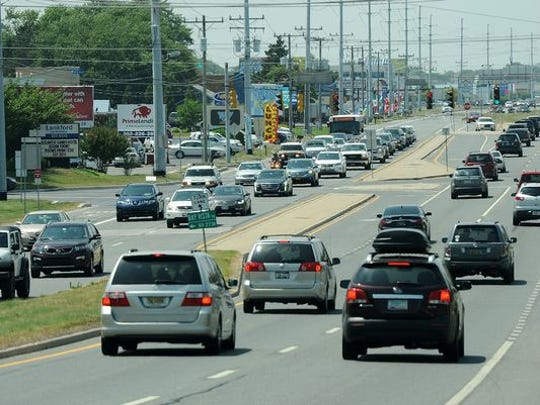 Traffic heading south on Del. 1 near Rehoboth Beach on Wednesday, May 25, just before the Memorial Day weekend traffic starts to arrive, in 2018.
