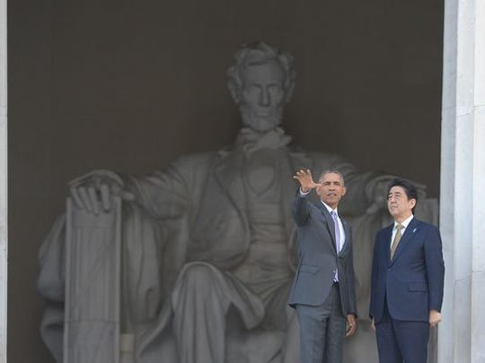 President Obama and Japan Prime Minister Shinzo Abe at the Lincoln Memorial in April 2015.