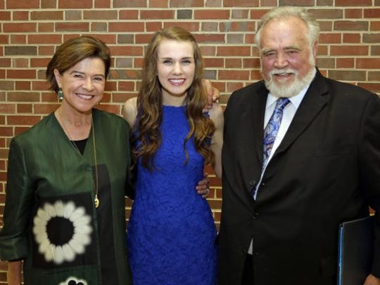 Natalie Black Kohler, left, poses with Herber V. Kohler scholarship winner Amelia Grose and Herbert V. Kohler, Jr. Wednesday May 25, 2016 following Kohler High School Honors Night in Kohler Memorial Theatre.