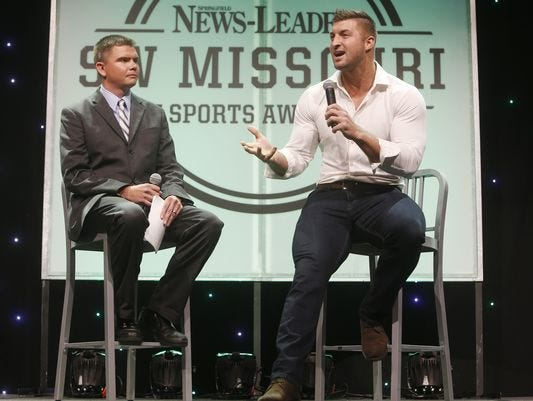 Heisman Trophy winner Tim Tebow (right) served as the keynote speaker at the 2016 SW Missouri Sports Awards, presented by the Springfield News-Leader.