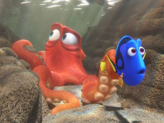Hank (voiced by Ed O'Neill) befriends Dory (Ellen DeGeneres) in the animated sequel 'Finding Dory.'