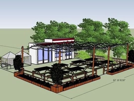 An artist's drawing of the proposed Flemington Filling Station beer garden.