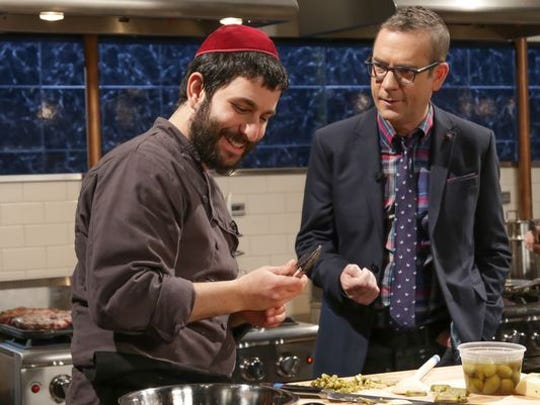 "Ted Allen (right) with Rabbi Hanoch Hecht of Rhinebeck on the set of ""Chopped."""