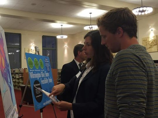 Leah Kacanda, planning technician for the City of Wilmington, discusses a bike share feasibility study in September.