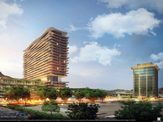 A rendering shows the proposed 22-story, hotel-apartment tower at 201 Shadow Mountain Drive in West El Paso. The existing 11-story Coronado Tower office building is at right.