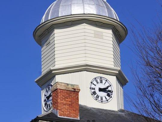The Chambersburg Borough Hall's clock tower, built