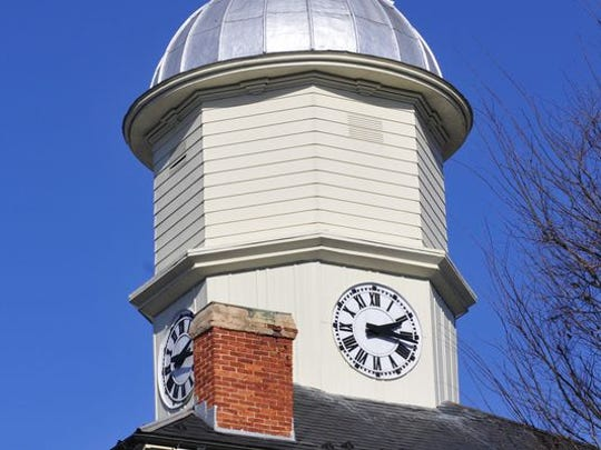 The Chambersburg Borough Hall's clock tower, built as part of the original 1830 building, used to hold a bell. The bell tower was later enclosed.