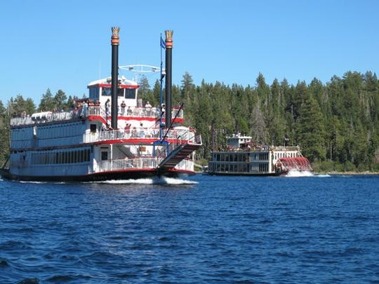 The M.S. Dixie II and the Tahoe Queen race during a Great Lake Tahoe Sternwheeler Race.