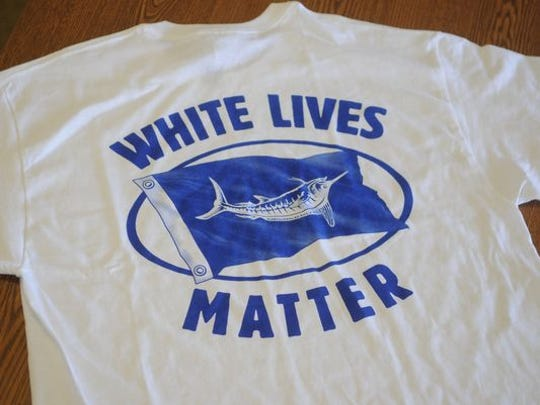 The shirt being sold at the White Marlin Marina on Somerset Street near the Ocean City inlet.